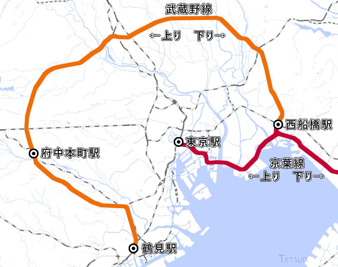 武蔵野線と京葉線の路線図(国土地理院「地理院地図Vector」の標準地図に加筆)