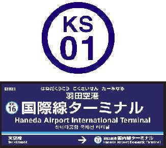 駅ナンバリング(上が京成線の例、下が京急線の駅名標の例)
