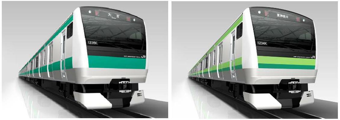 E233系イメージ(左が埼京線用、右が横浜線用)