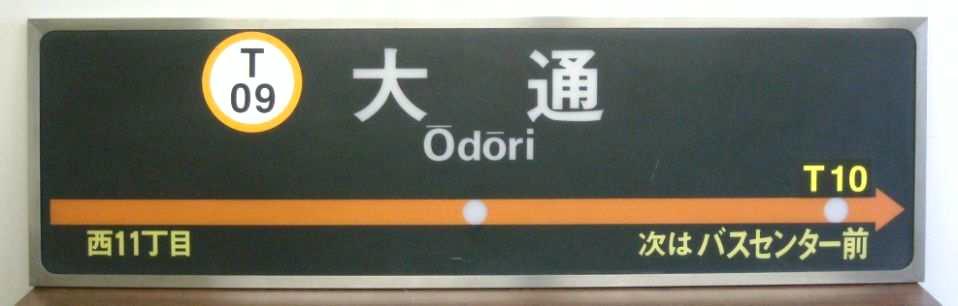 大通駅ホームの駅名標(出品イメージ)
