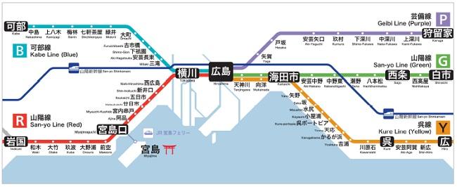 広島エリア 路線図(導入後イメージ)