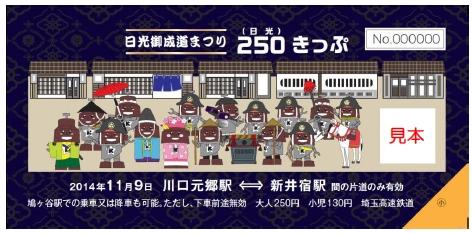 250きっぷ(見本)