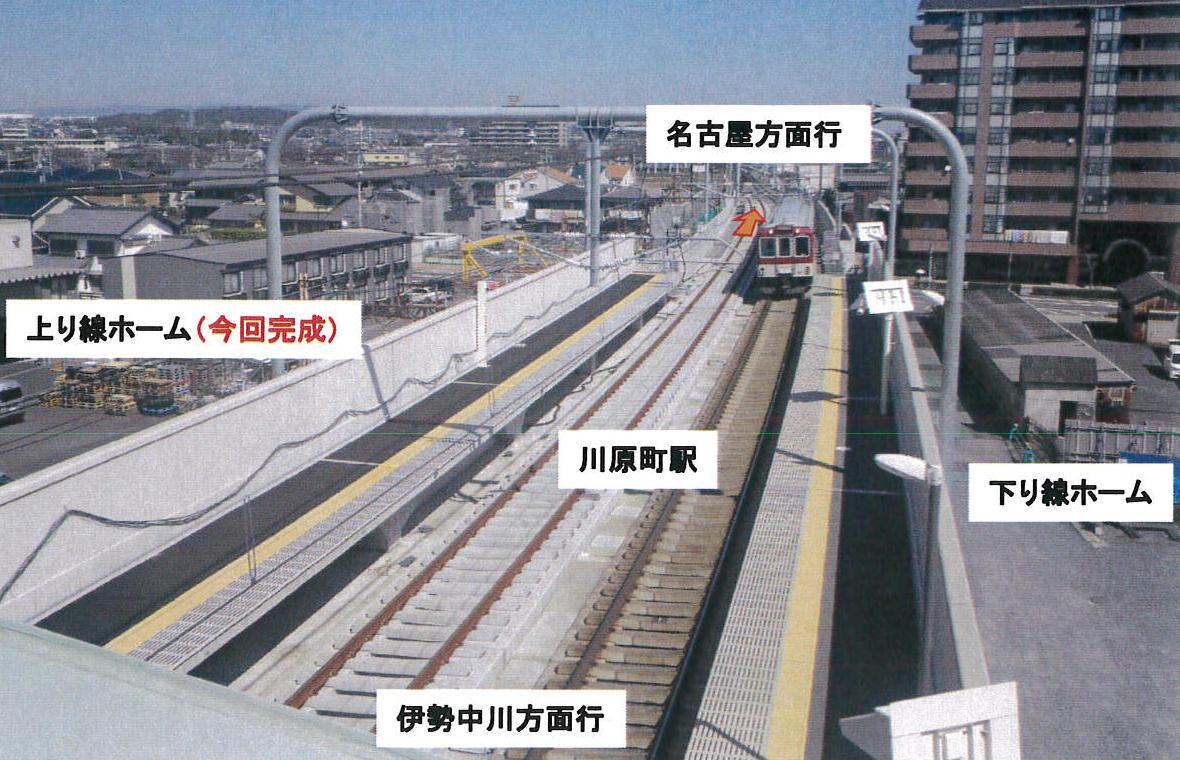 上り線高架化(川原町駅の様子)