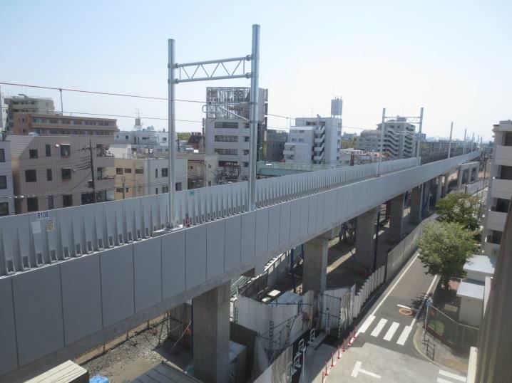 下り急行線高架区間(工事の様子)