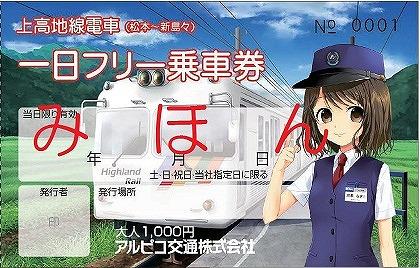 上高地線一日フリー乗車券(イメージ)