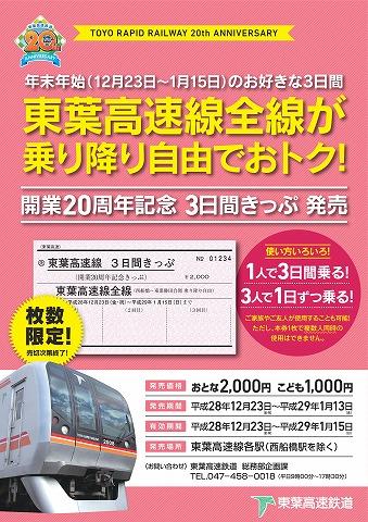 開業20周年記念3日間きっぷ