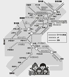 三重県内鉄道路線図