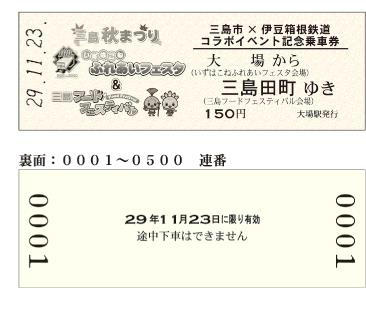 記念乗車券(券面デザイン)