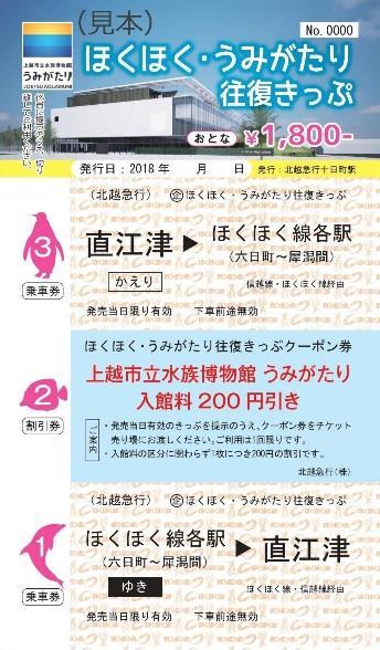 ほくほく・うみがたり往復きっぷ(イメージ)