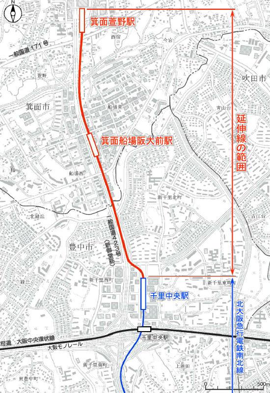 北大阪急行線延伸区間と新駅