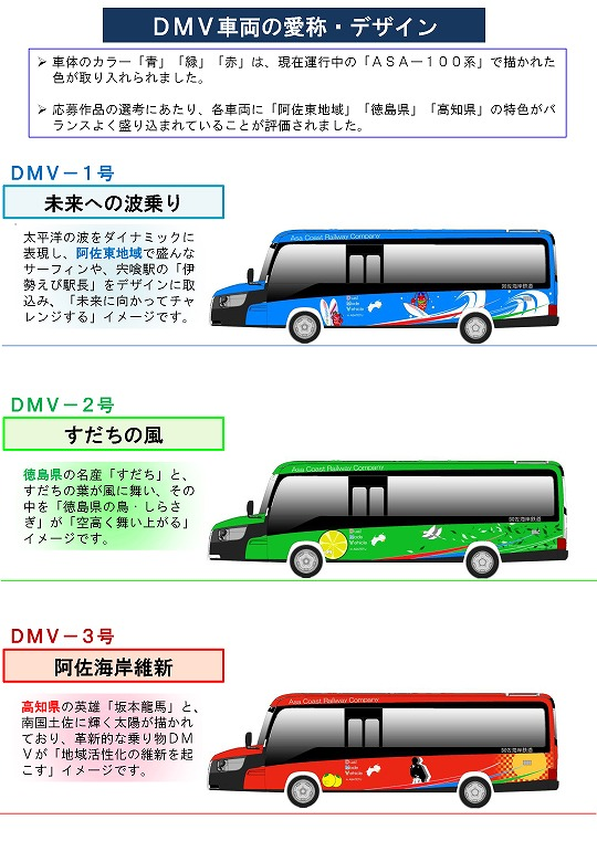 DMV各車のデザインイメージ