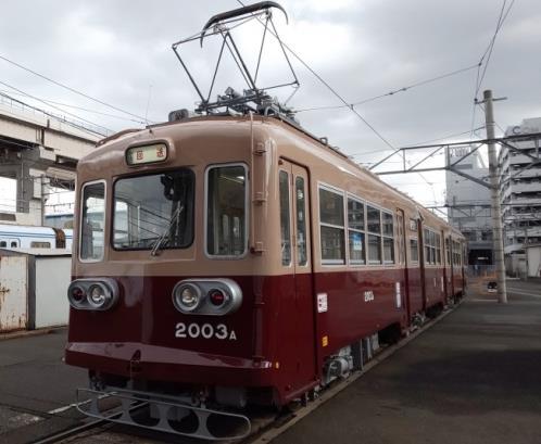 2003号車(西鉄マルーン&ベージュ塗装側)