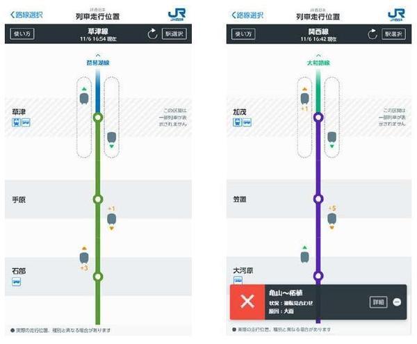 列車走行位置サービス(画面イメージ)
