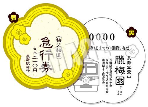 記念急行券(イメージ)