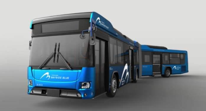 横浜市が導入する連節バス「BAYSIDE BLUE」(イメージ)