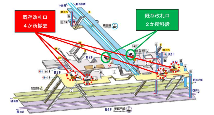 九段下駅構内図(改札口改廃)