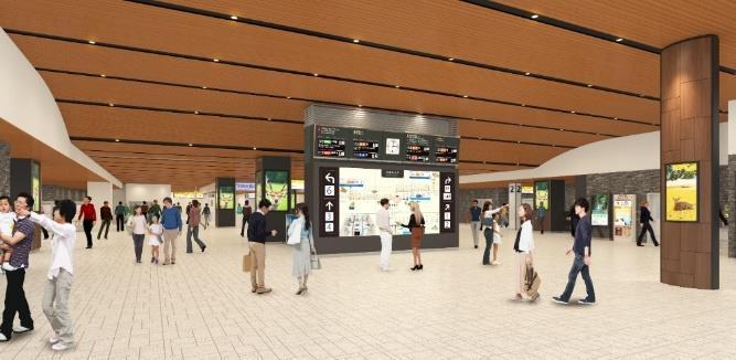 大型マルチディスプレイを設置した駅構内(イメージ)