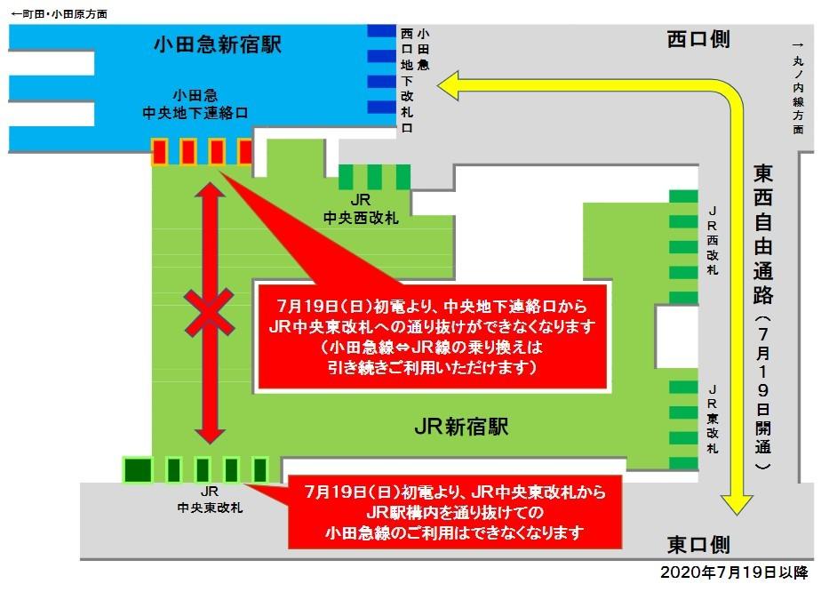 自由通路開通後の東口方面へのルート(小田急線)