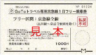 GoToトラベル専用京急線1日フリー乗車券(イメージ)