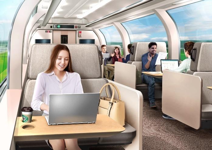 同社が目指す新幹線車内での新しい働き方のイメージ