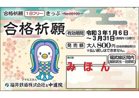 合格祈願1日フリーきっぷ(イメージ)