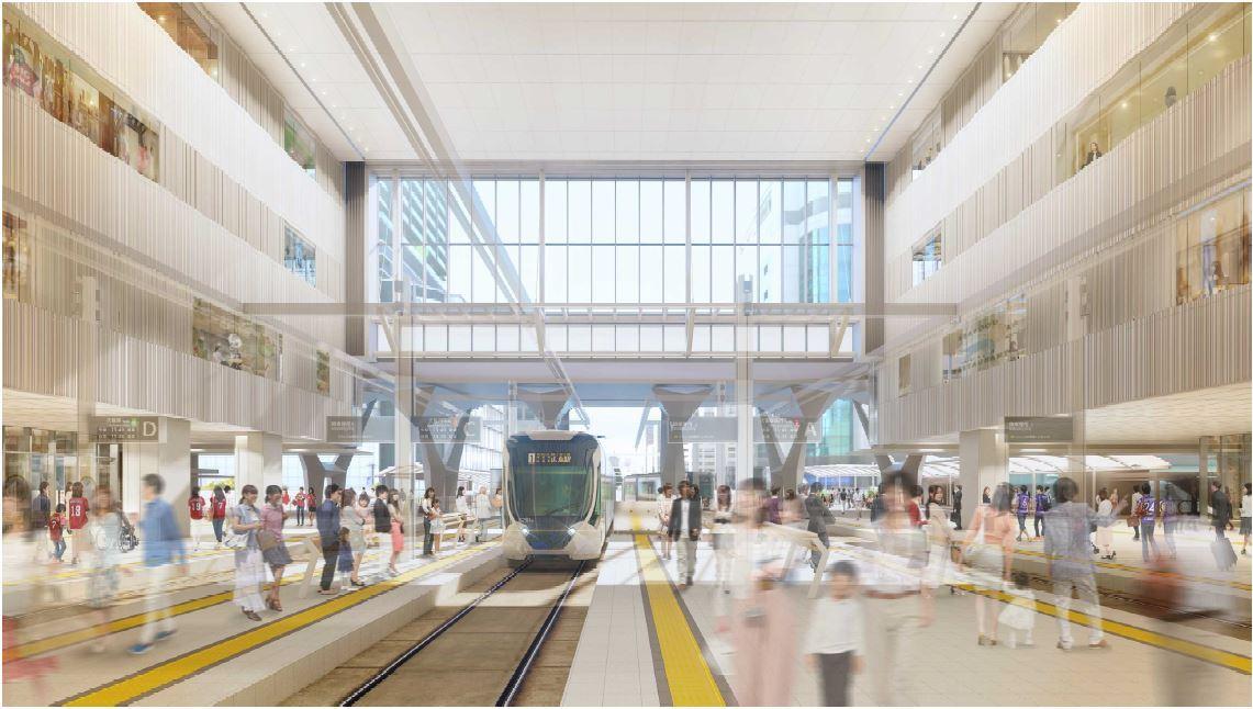 路面電車が乗り入れる2階(イメージ)