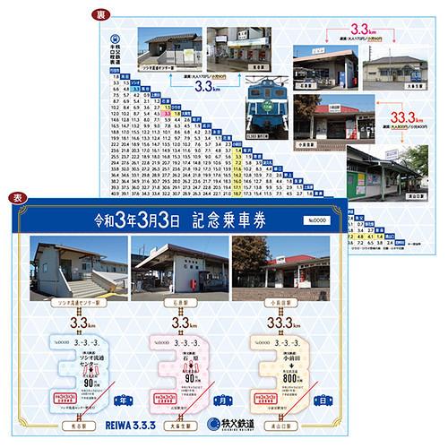 令和3年3月3日記念乗車券(イメージ)