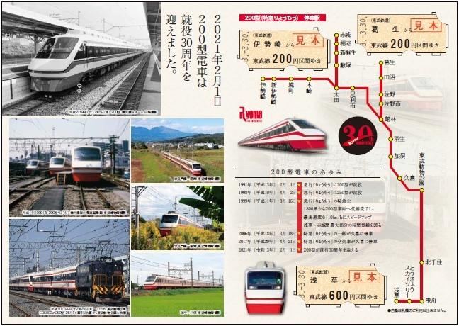記念乗車券(台紙裏面イメージ)