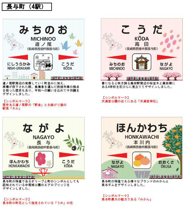 駅名標デザイン(長与町内4駅分イメージ)