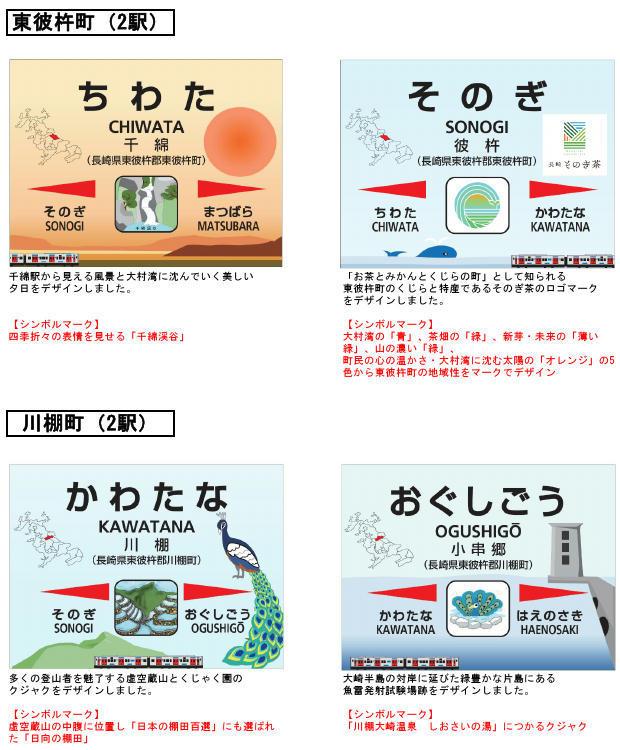 駅名標デザイン(東彼杵町・川棚町内各2駅分イメージ)