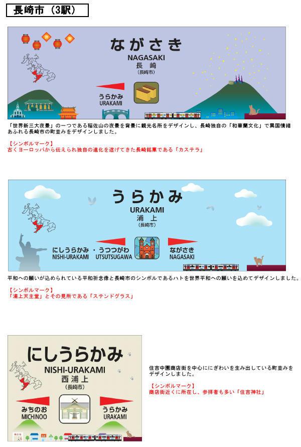 駅名標デザイン(長崎市内3駅分イメージ)