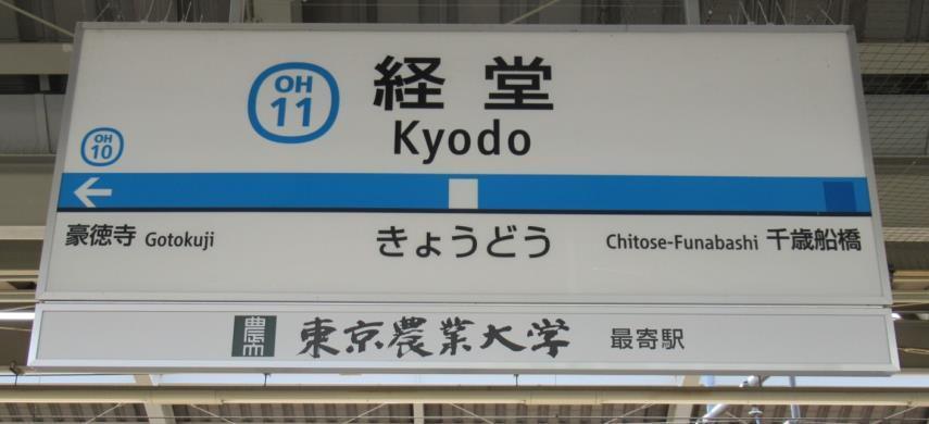 経堂駅駅名標・副駅名看板