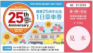 開業25周年記念1日乗車券(イメージ)
