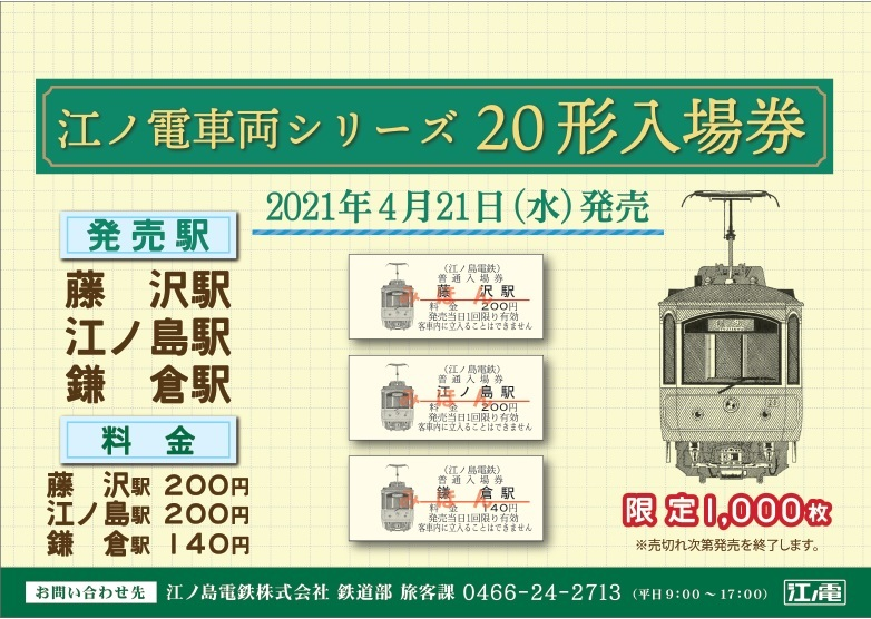 江ノ電車両シリーズ入場券 20形