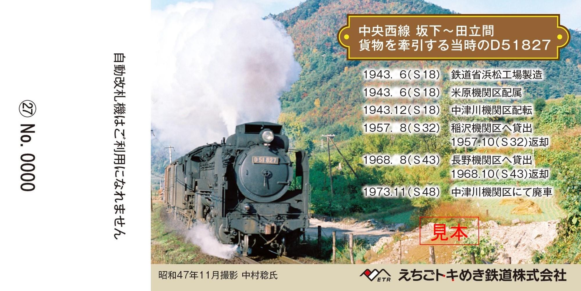 記念乗車券(裏面イメージ)