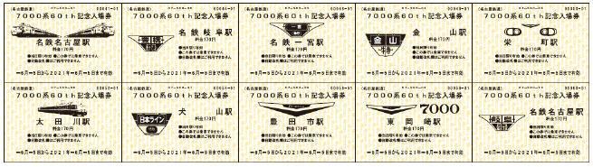 7000系パノラマカー60th記念入場券(券面イメージ)