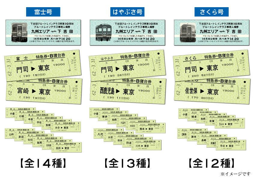 ブルートレインテラス専用入場券・復刻硬券(イメージ)
