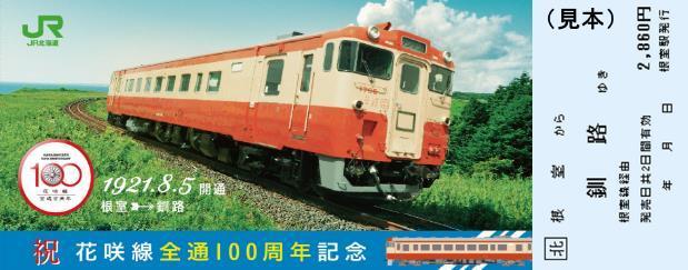 花咲線全通100周年記念乗車券(イメージ)