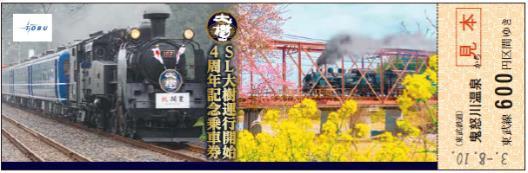 鬼怒川温泉駅発乗車券(券面イメージ)