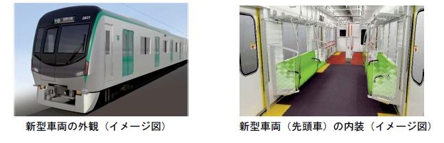 新型車両外観(左)と内装(右)(イメージ)
