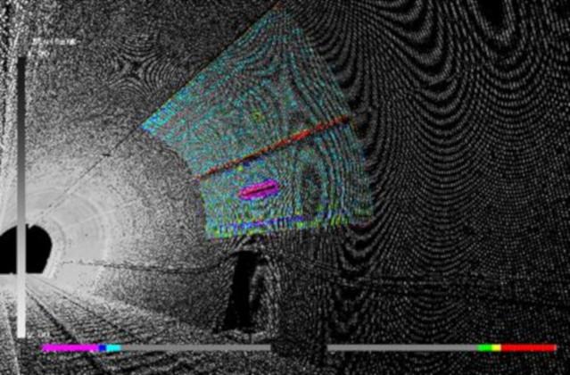 鉄道版インフラドクターによる、トンネル壁面の3次元点群データ