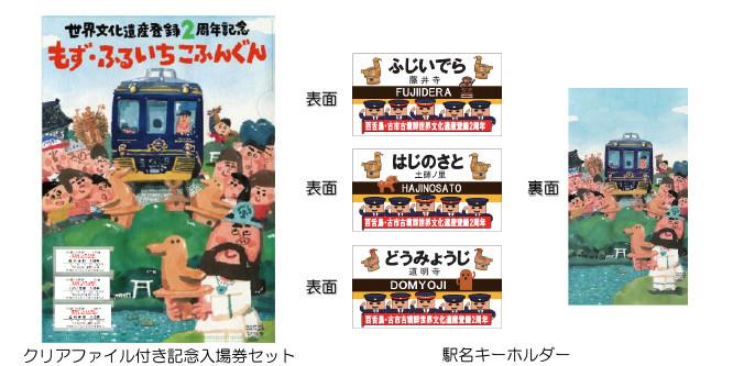 記念入場券セット、駅名キーホルダー(イメージ)