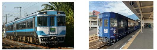 キハ185系(左)、藍よしのがわトロッコ号(右)