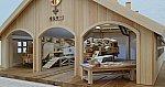 2018.3.22 木工細工蒸気機関車作品展 (17) 機関車庫とC111、C121 1920-1020
