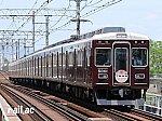 神戸高速線開通50周年記念ヘッドマークを掲出する阪急5000系5001号車