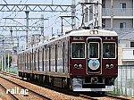 「阪急伊丹線開通100周年」(塚口方)ヘッドマークを掲出する阪急6012×8R(6012号車)