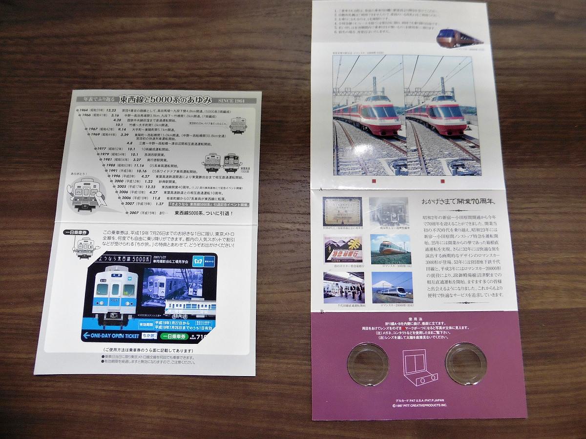 5000系の1日乗車券は、同車両の引退記念イベントで発売されたもの。小田急の1日乗車券は、1997年の開業70周年を記念しての発売でした