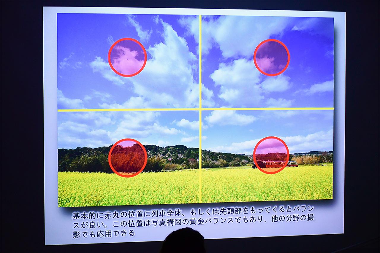 日の丸4面構図の例。画面を4分割し、その中の1つで日の丸構図を組んだ、安定感のある構図です