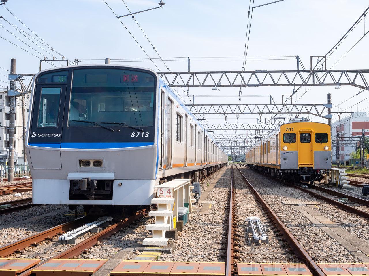 厚木操車場に2本の電車を用意して行われたインバウンドツアー運転体験会。線路閉鎖をしたうえで実施されました