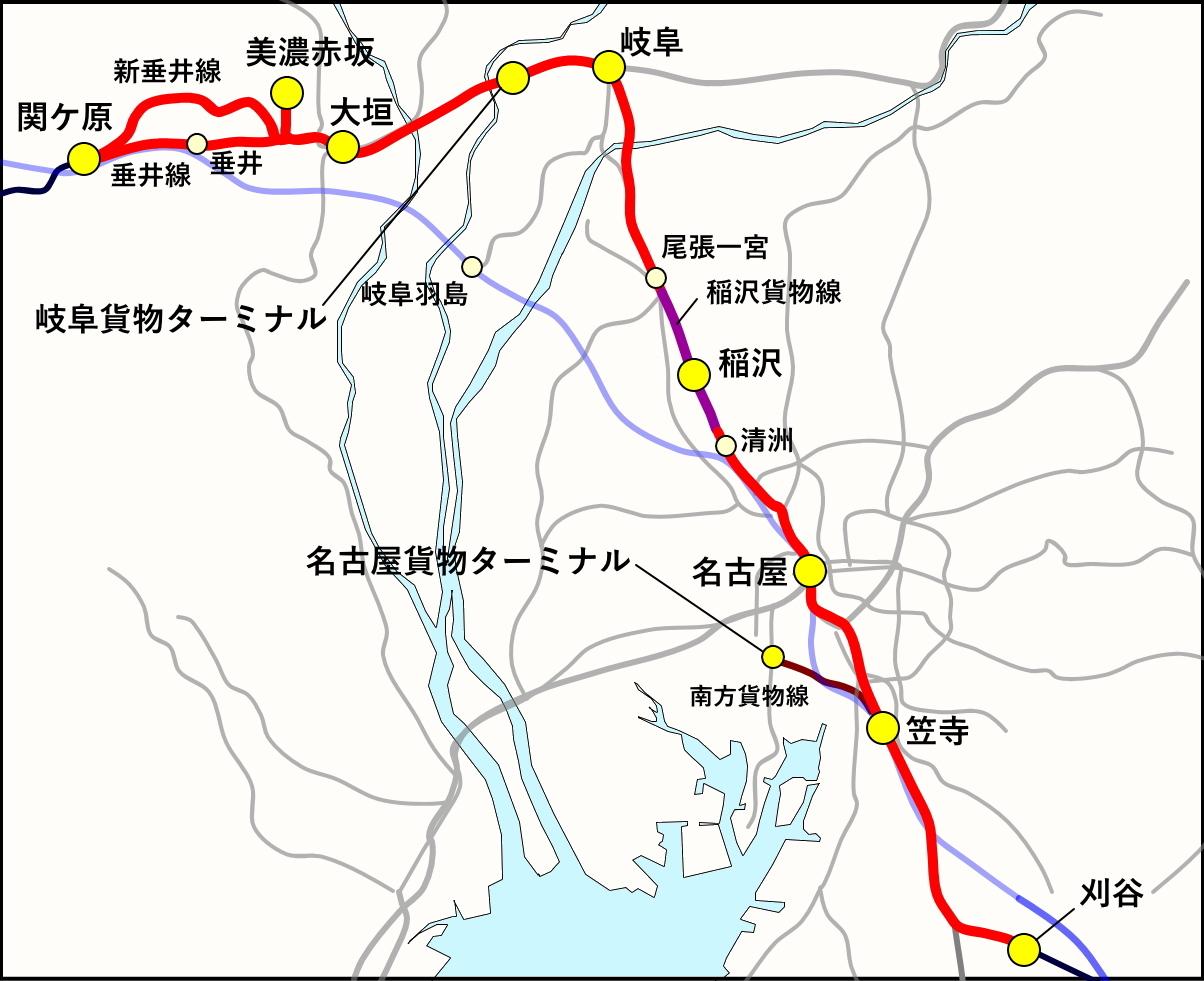 今回のルート。東京と異なり、貨物線だけの独立したルートは少なめですが、美濃赤坂支線、新垂井線、稲沢貨物線などレアな区間を走行します